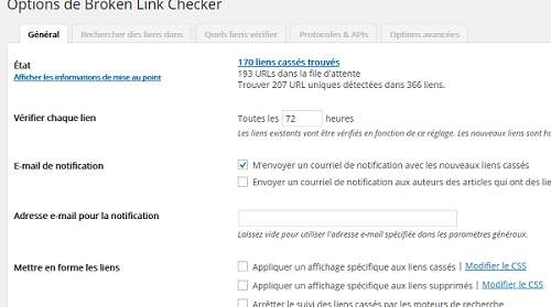 extension Broken Link checker