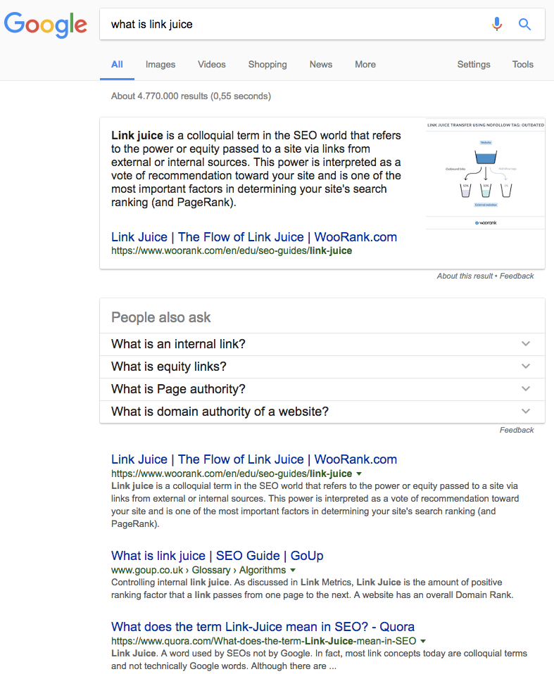 What is link juice featured snippet