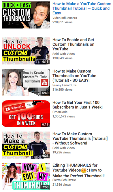 YouTube custom thumbnail