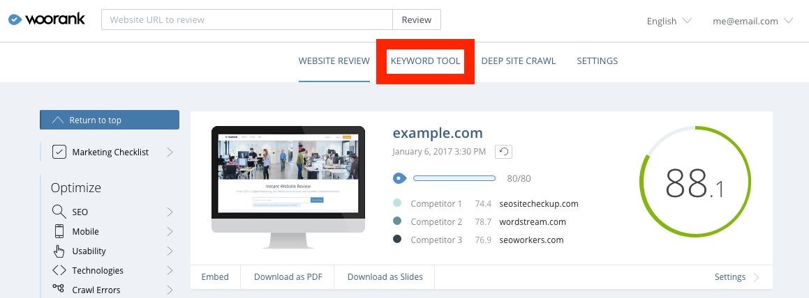 WooRank Keyword Tool Advanced Review