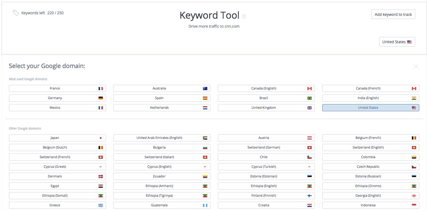 Keyword Tool country selection