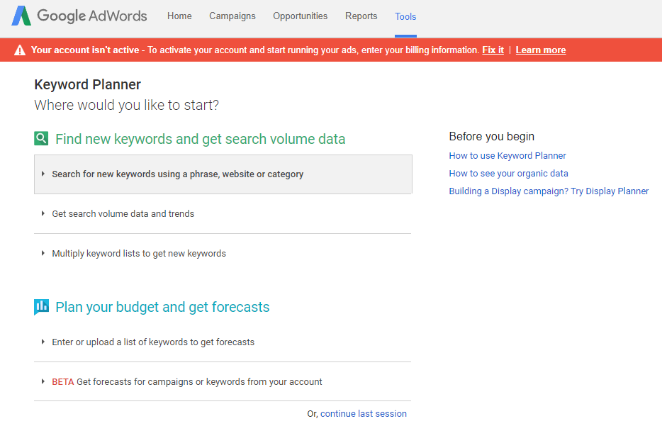 Google AdWords keywordPlanner