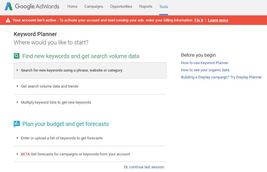 Google AdWords keywordPlanner