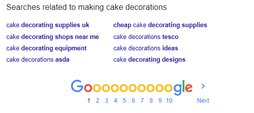 Google related searches at the bottom of SERP
