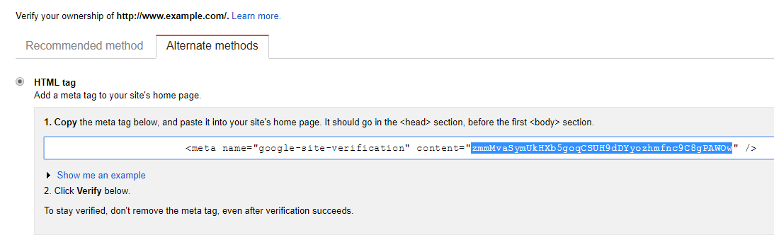 Alternate method of adding HTML verification for GSC