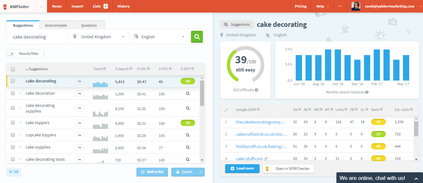 Keyword Finder SEO dashboard