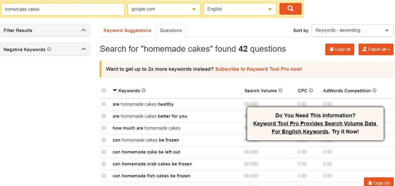 KeywordTool.io keyword suggestions