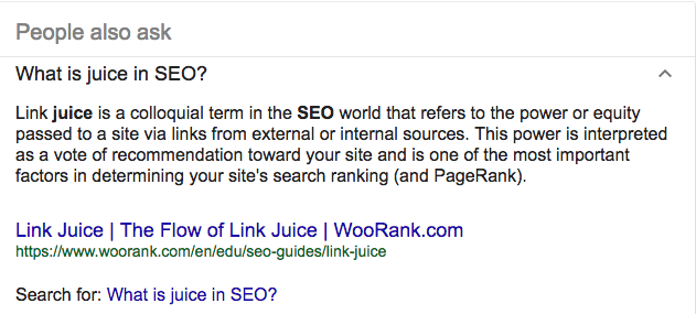 What is Link Juice in SEO related question