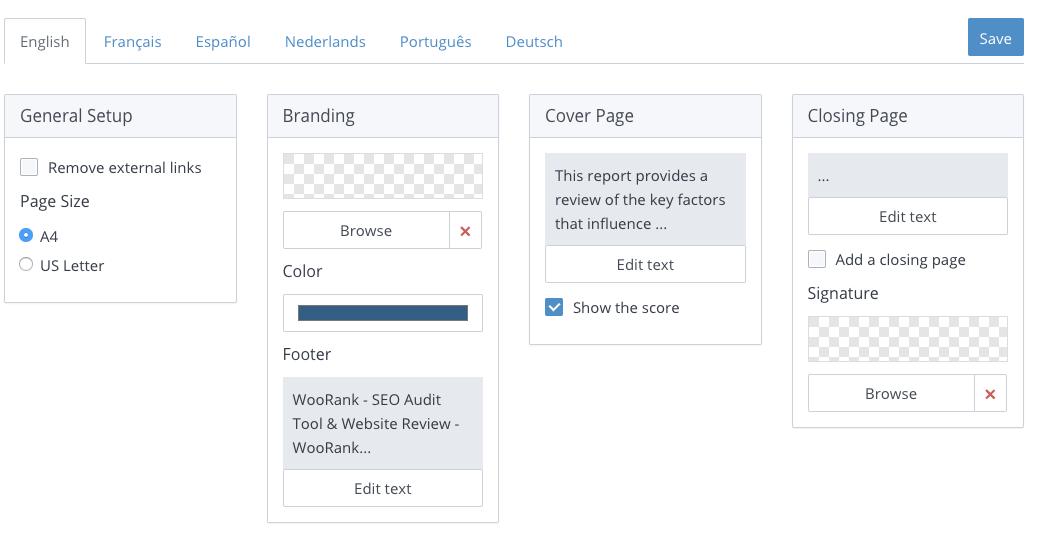 WooRank report template setup