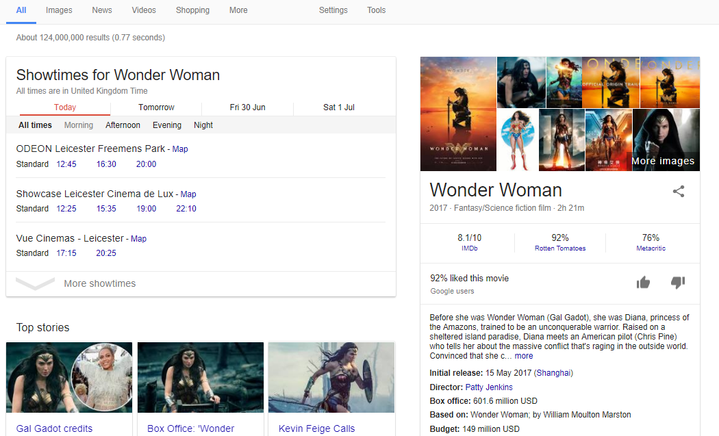 Wonder Woman rich search results