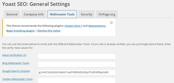 Verify site ownership with Yoast SEO plugin