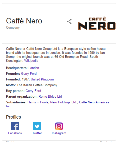 Caffee Nero Knowledge Graph result