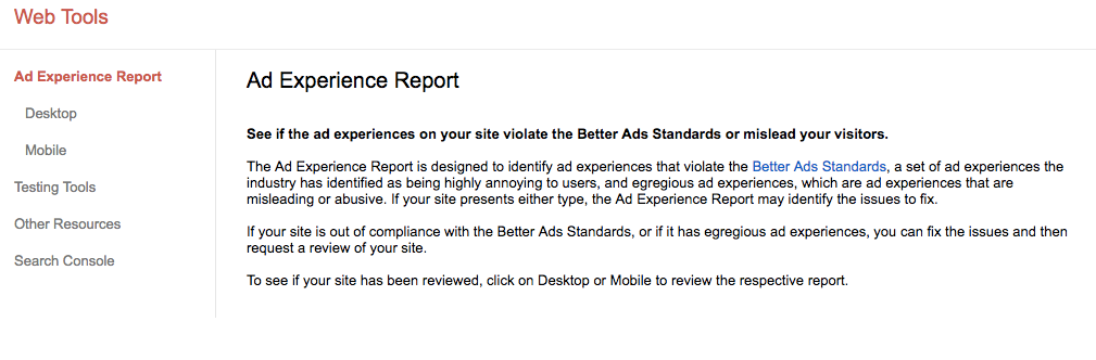 Google Ad Experience Report tool