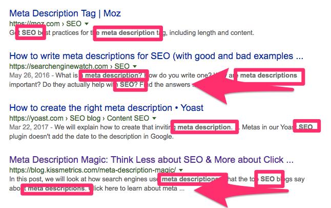 Keywords in meta descriptions in SERP