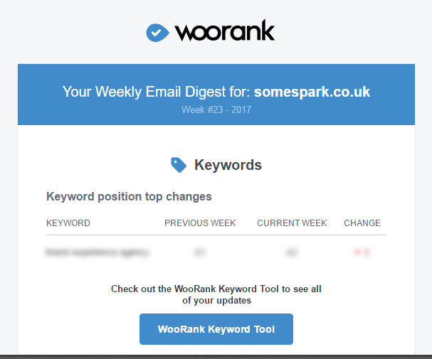 WooRank Email Digest keyword reporting
