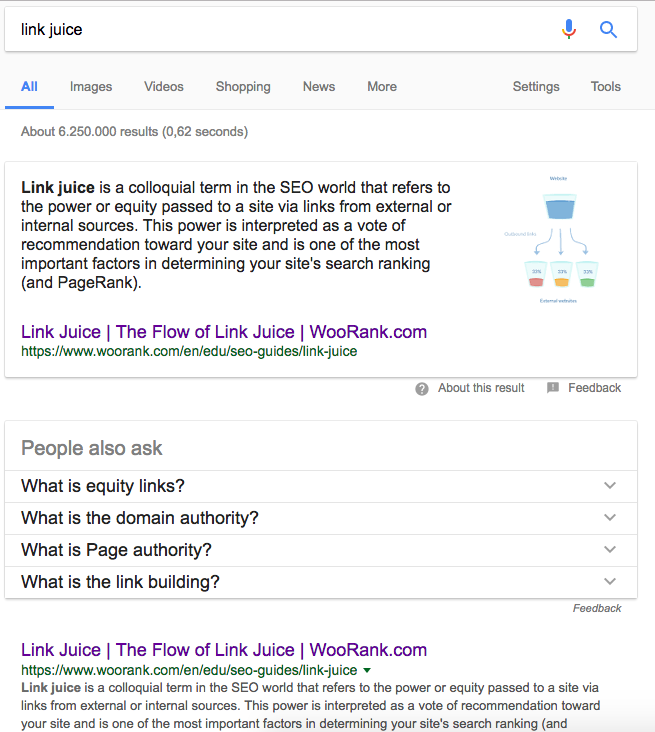 WooRank link juice SEO Guide in SERP