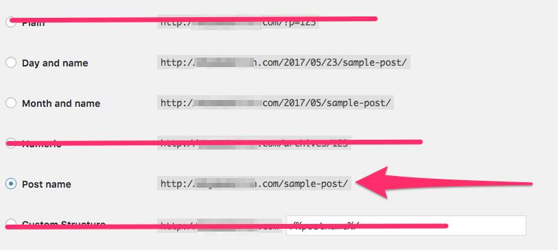 WordPress permalink options