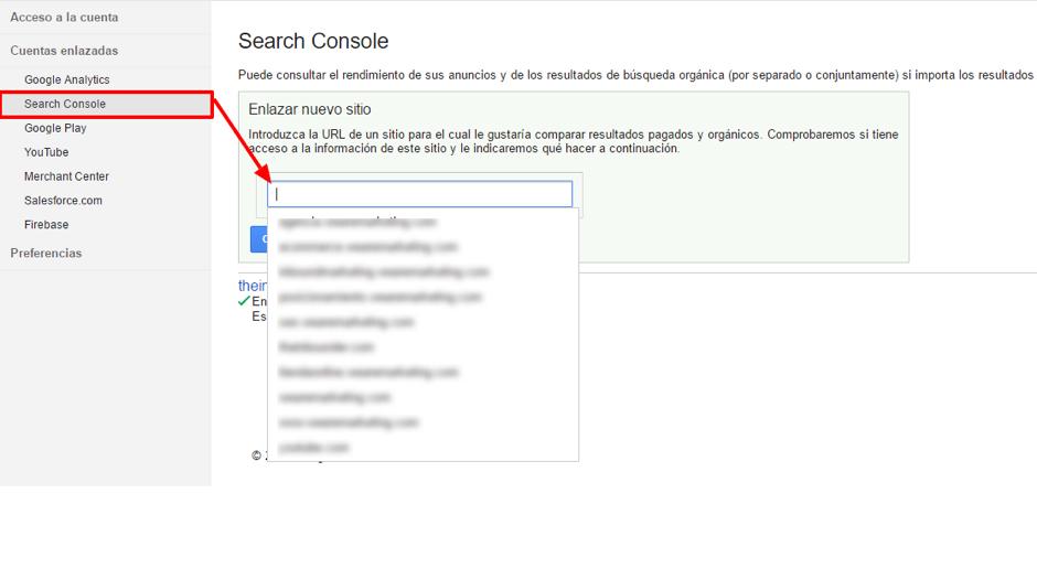 añadir el dominio de la cuenta Search Console