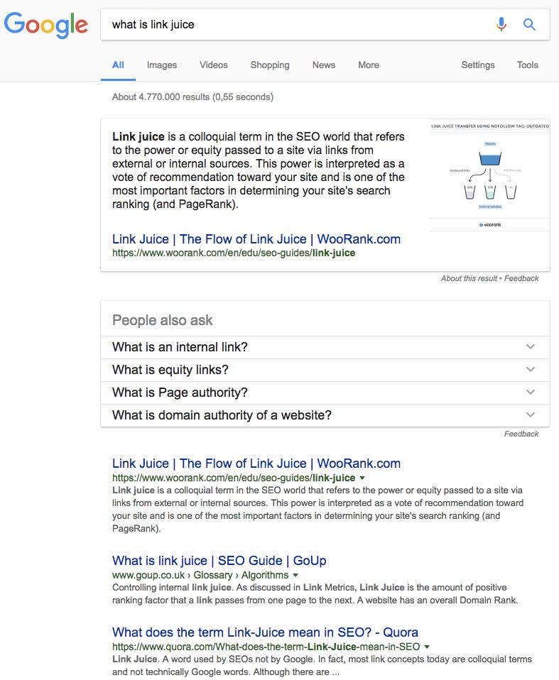 fragmento enriquecido de Google