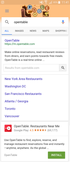 OpenTable rich results and app promotion