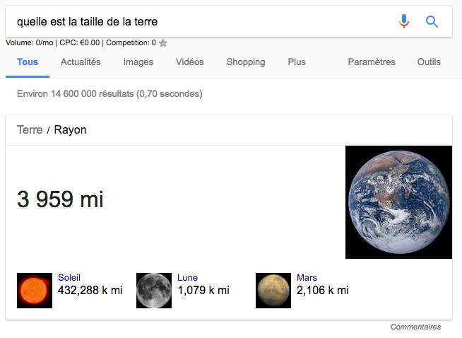 requête taille de la terre