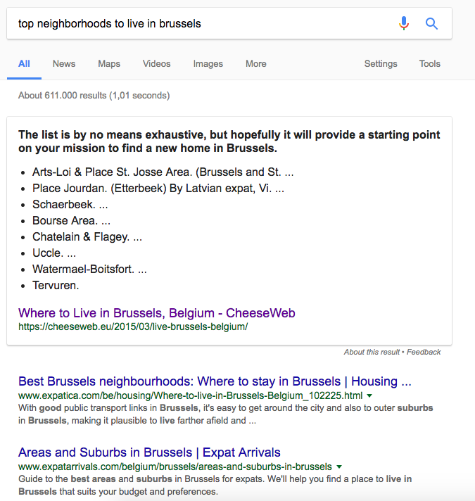 Google featured snippet where to live Brussels