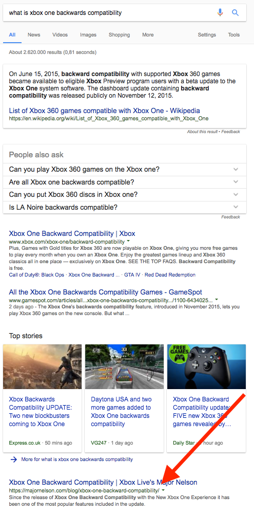 what is xbox one backwards compatibility SERP