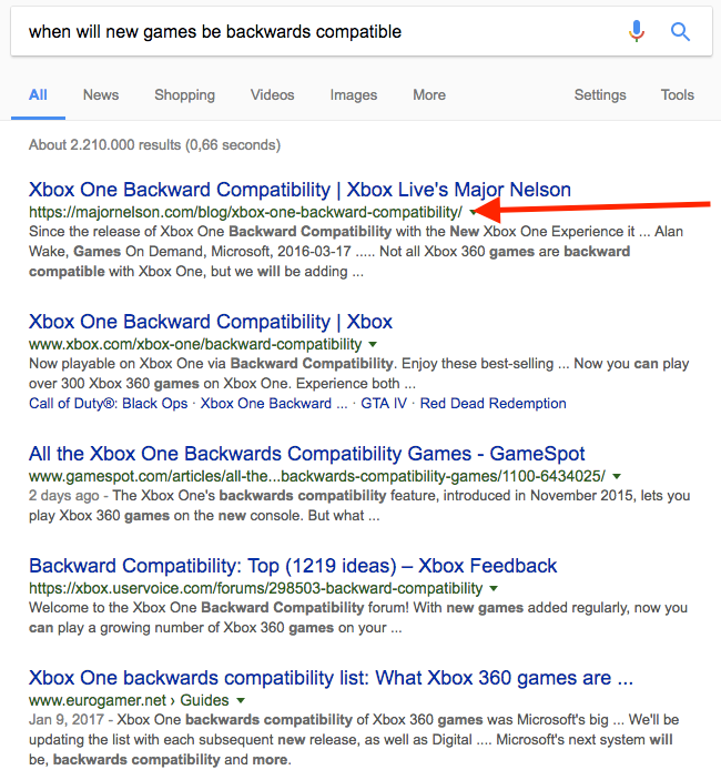 When will new games be backwards compatible SERP