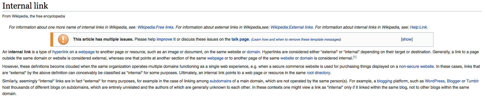 Wikipedia internal linking strategy