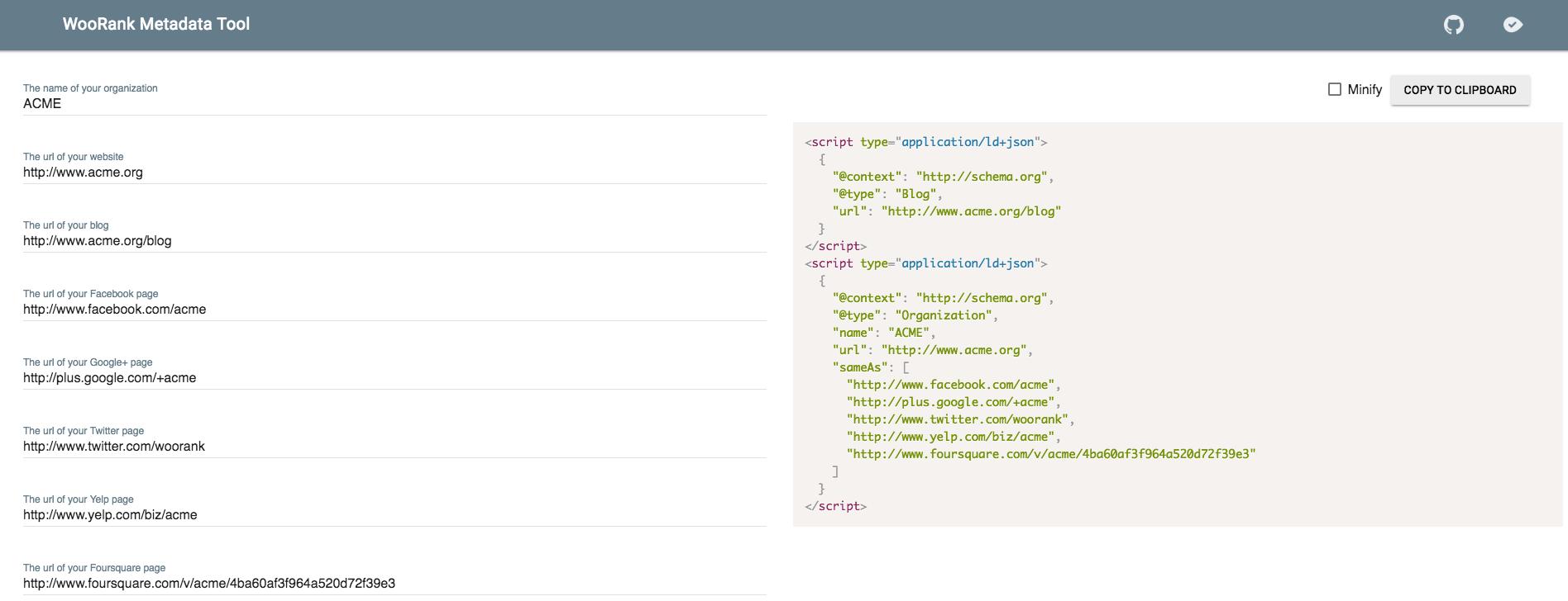 WooRank Metadata Tool generated markup