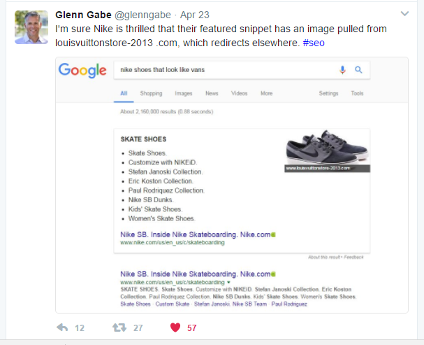 Branded search featured snippet
