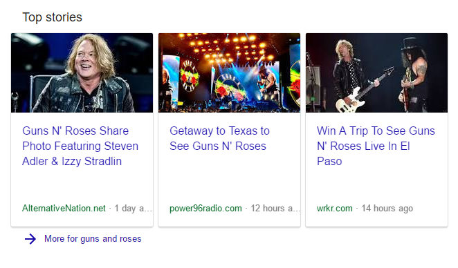Google News carousel for Guns N Roses