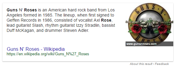 Featured snippet for Guns N' Roses