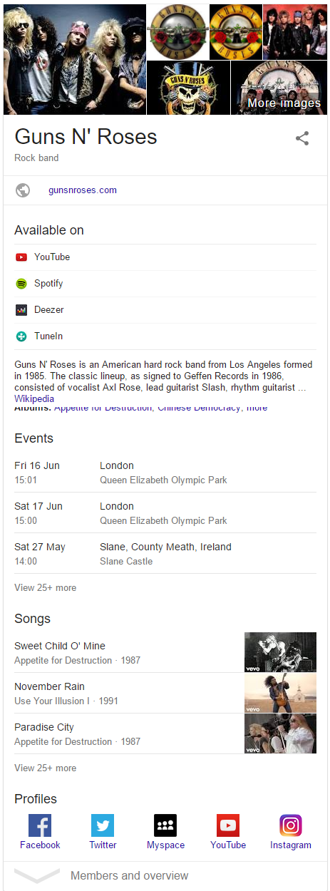 Knowledge Graph entry for Guns N' Roses