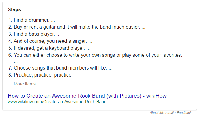 How to form rock band featured snippet