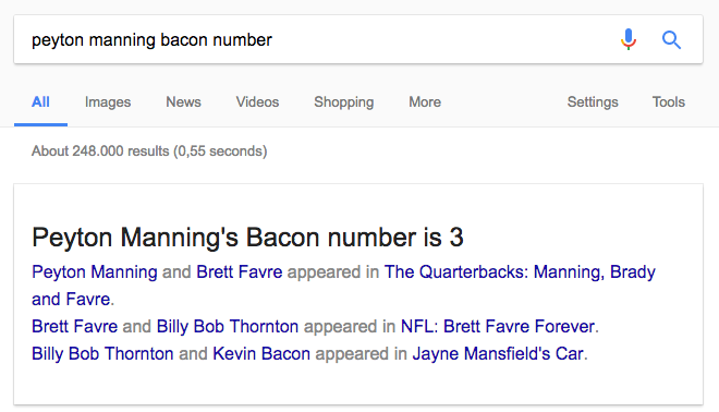 Peyton Manning Bacon Number featured snippet