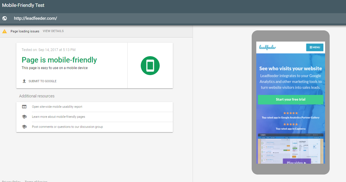 Check your pages' mobile friendliness with Google's Mobile Friendly test