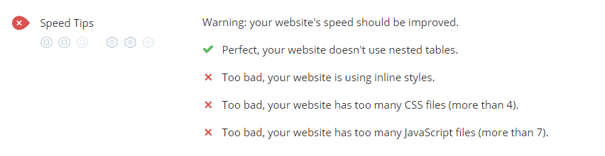 WooRank audit includes speed tips to improve site performance