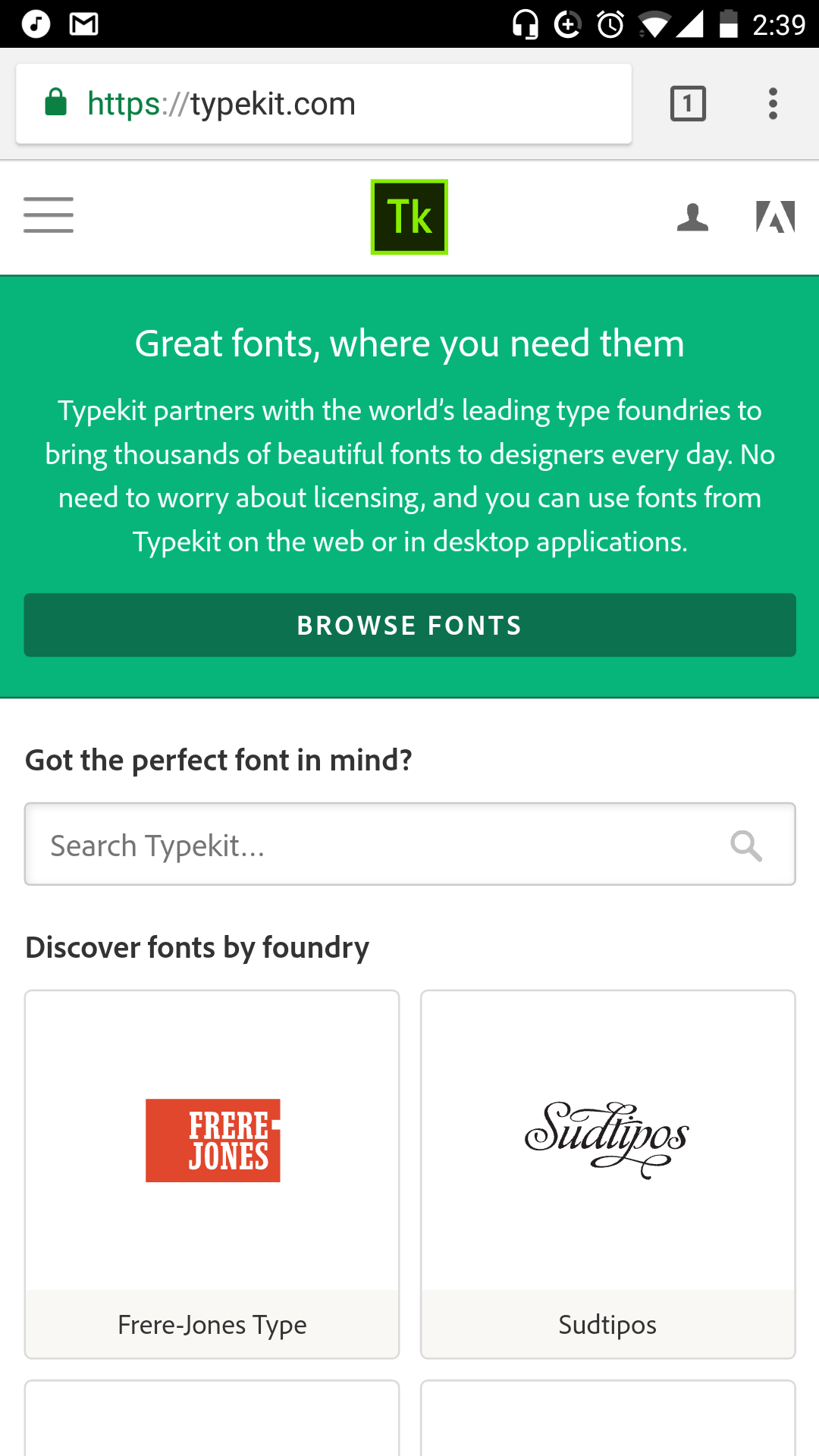 Typekit Mobile Design