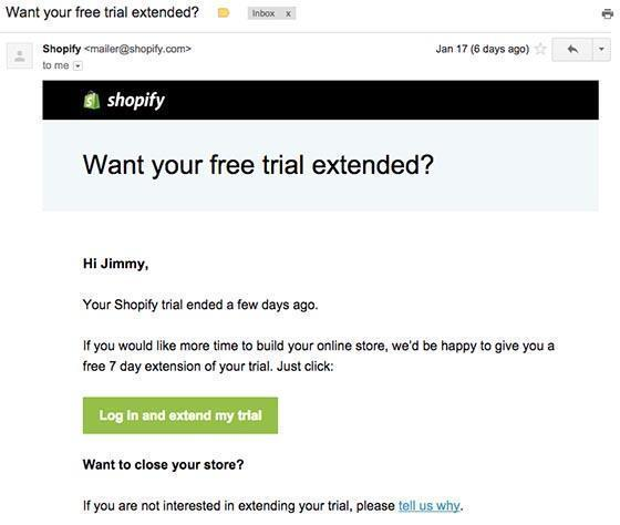 Shopify example of a Hail Mary email campaign