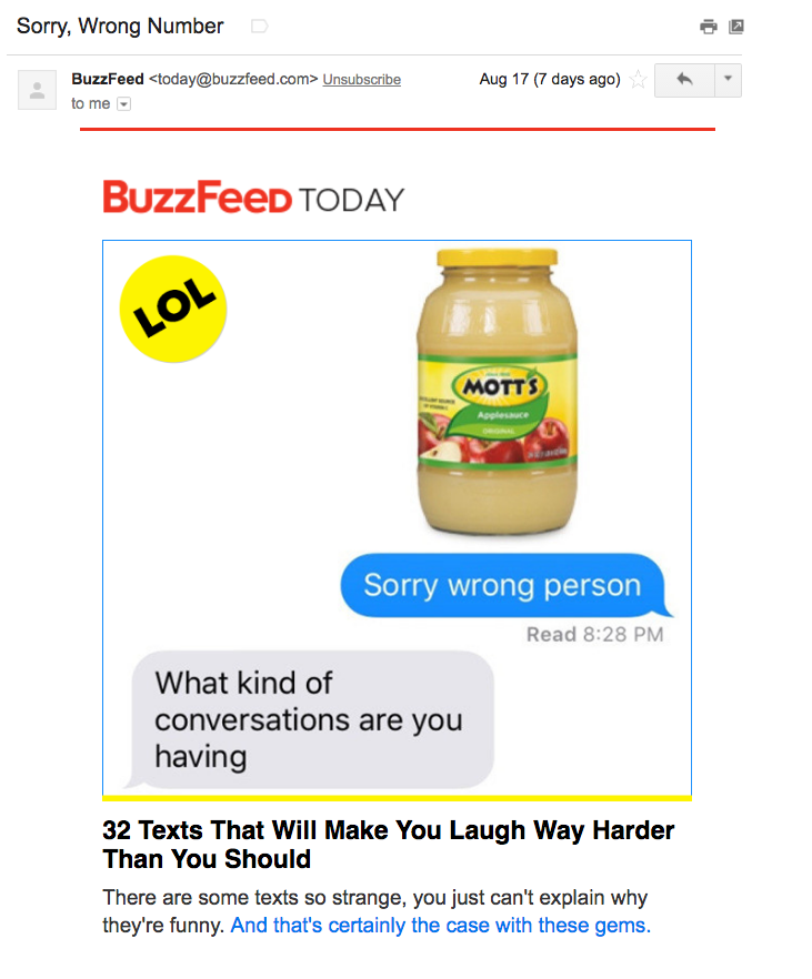 Buzzfeed Email to Subscribers
