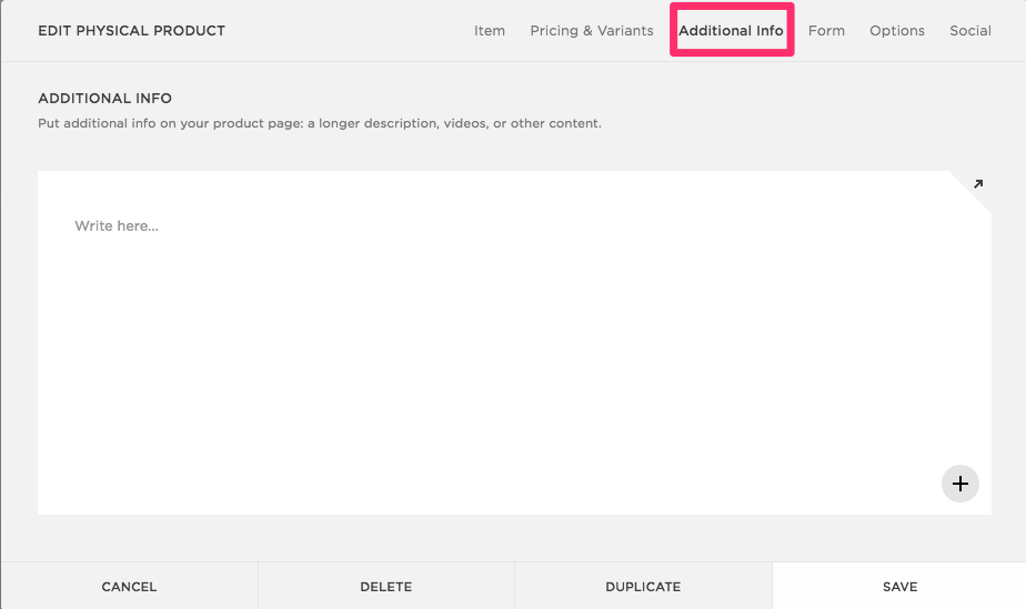 How to add additional info in Squarespace