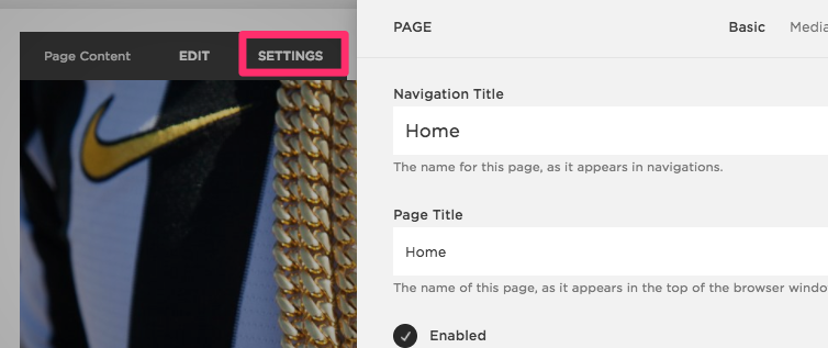 Homepage settings to add metadata in Squarespace