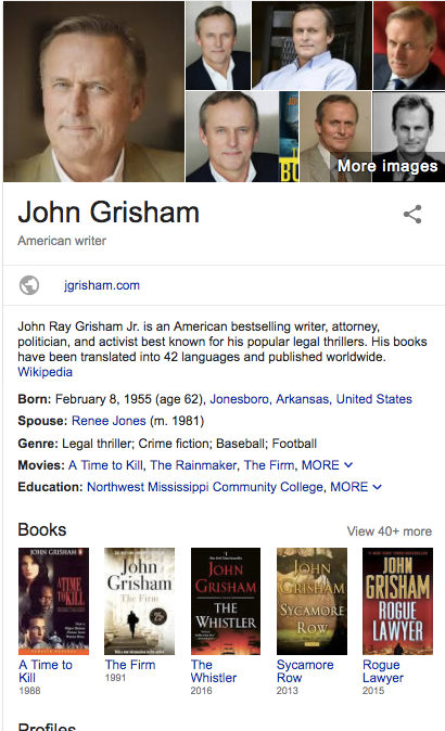 John Grisham Knowledge Panel