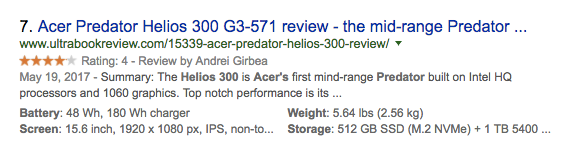 Product data in SERP rich snippet