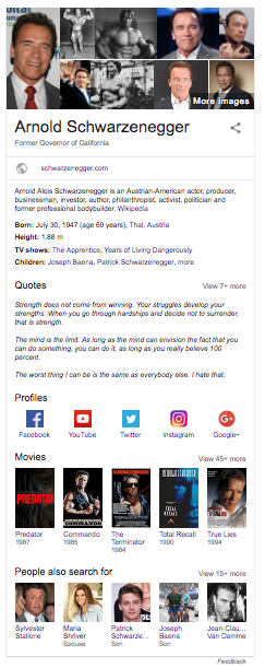 Arnold Schwarzenegger Knowledge Graph result