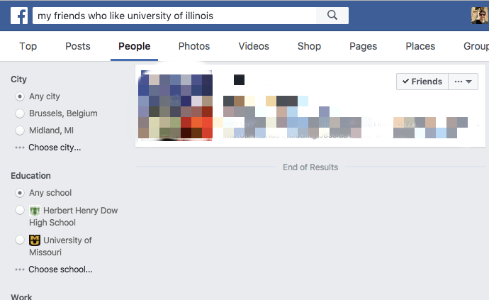 Facebook Graph Search who likes Illinois