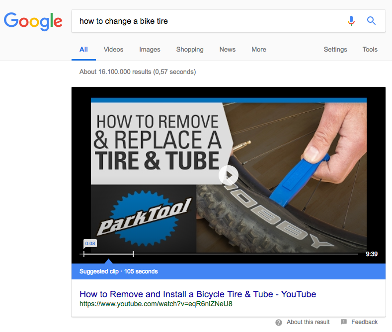 Google suggested clip result