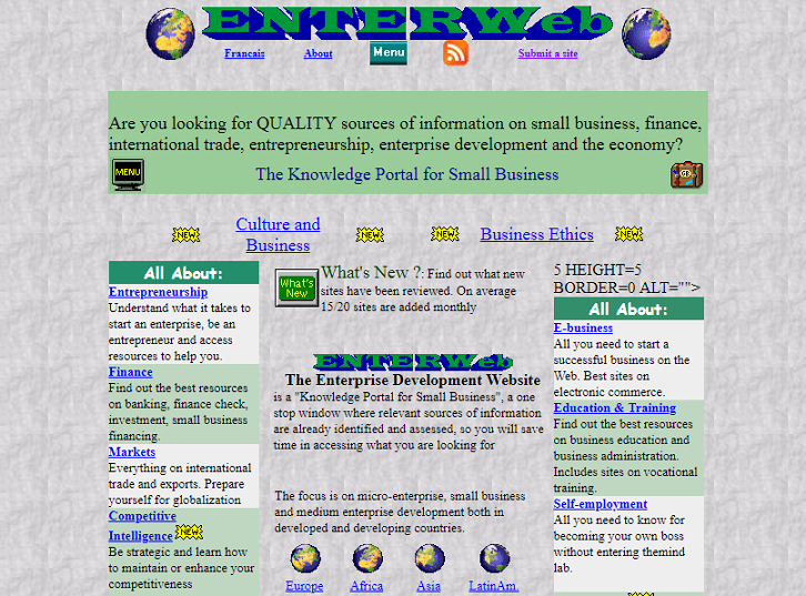 Website design from the early 2000s