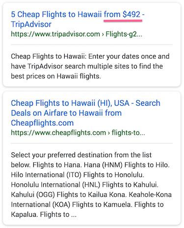 Example of meta description in Google Search Results
